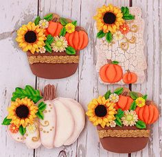 Apple Theme Parties, Fall Party Themes, Fun Cookies, Cupcake Cookies, Sugar Cookies, Cupcakes, Fall Decorated Cookies, Sunflower Cookies, Pumpkin Patch Party