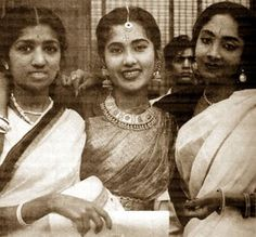 Going Traditional: Lata Mangeshkar in the 40's. Love the different types of old sarees here. You can see how far we've come from!