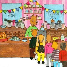 Candy shop  #candy #candyshop #cashier #dog #dogs #desk #dogcandy #lollipop #godis #godisaffär #gouache #doodle #art #illustration #ink #cartoon #childrensbook #childrenillustration #barnboksillustration