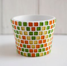 Items similar to Yellow, orange and green mosaic plant pot on Etsy Mosaic Planters, Mosaic Flower Pots, Painted Flower Pots, Mosaic Garden, Painted Pots, Mosaic Bottles, Mosaic Glass, Stained Glass, Glass Art