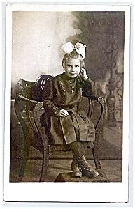 Pretty Girl - Huge Bow - Early Real Photo Postcard