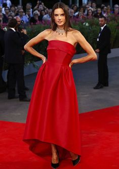 Alessandra was another model decked out in Alberta Ferretti at the annual festival. This red gown with high-low skirt was complemented by a Chopard necklace and black Salvatore Ferragamo pumps.Image: KIKA/WENN.com