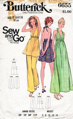 Items similar to Misses' Retro Outfit Butterick 6655 Vintage Sewing Pattern, Easy Halter Tunic or Dress, Straight Leg Pants Size 14 Bust 36 UNCUT on Etsy Tunic Pattern, Pants Pattern, 70s Outfits, Vintage Outfits, Vintage Fashion, Vintage Clothing, Patron Vintage, Halter Maxi Dresses, Mode Vintage
