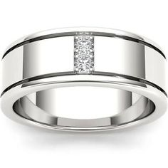 wedding band for him with diamonds and white gold - Google Search