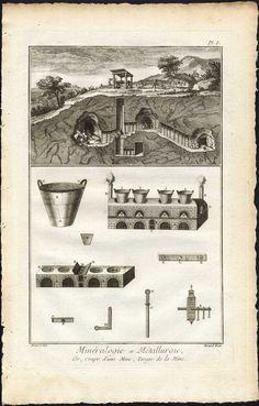 3 Antique Prints-METALLURGY-METAL-CASTING IRON ORE-MINING-MINE-Diderot-1751