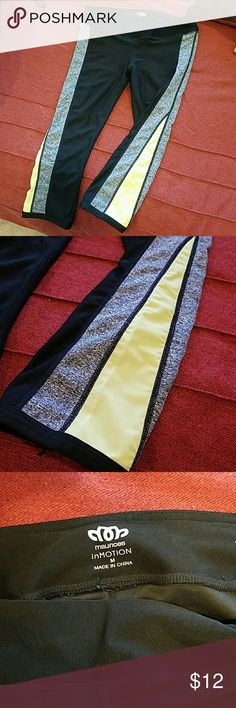 NWOT Workout Capri's From Maurices in Motion line. Never worn. Just took the tags off and realized they didn't fit me. Black capri's with gray and yellow down the sides. Super cute!! I really hope someone can wear these! Maurices Pants Capris
