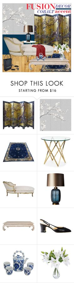 """""""Fushion Decor - Cobalt Accent"""" by ivansyd ❤ liked on Polyvore featuring interior, interiors, interior design, home, home decor, interior decorating, Misha, Heathfield & Co., Safavieh and Chanel"""