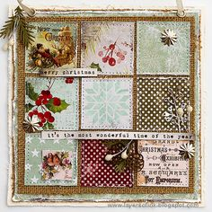 Layers of ink - Christmas Patchwork Wall-hanger by Anna-Karin Evaldsson. Made for the Simon Says Stamp Monday Challenge blog, using Tim Holtz idea-ology and Sizzix products.