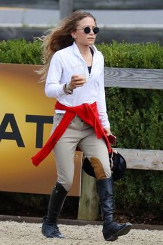 Olsens Anonymous Blog Mary Kate Olsen Twins Style American Gold Cup Long Wavy Hair Round Sunglasses Half Zip Sweater Red Cardigan Riding Pants Leather Knee High Boots