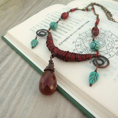 Silk Road Necklace Dark Red Silk Wrapped and Stone от GypsyIntent, $58.00