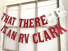 That there is an rv Clark! Red sparkle banner with white sparkle rv each letter is 6 inches tall and the banner is 2 pieces! Perfect for you holiday/ Christmas decor Christmas Party Themes, Christmas Banners, Xmas Party, Christmas Decorations, Christmas Traditions, Office Christmas, Holiday Fun, Christmas Holidays, Christmas Crafts