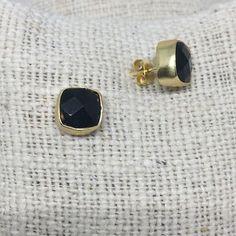 Square Stud Earrings | Onyx