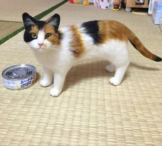 Needle felted life size cat found on Yahoo Auctions Japan.