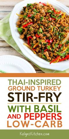 This popular Thai-Inspired Ground Turkey Stir-Fry with Basil and Peppers might r. - This popular Thai-Inspired Ground Turkey Stir-Fry with Basil and Peppers might remind you of the gr - Healthy Turkey Recipes, Healthy Ground Turkey, Paleo Recipes, Asian Recipes, Cooking Recipes, Ground Turkey Recipes Paleo, Cooking Hacks, Thai Basil Ground Chicken Recipe, Healthy Recipes