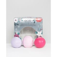 EOS Limited Edition Lip Balm Sphere Trio ($29) ❤ liked on Polyvore featuring beauty products, skincare, lip care, lip treatments, clear and eos