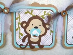 Baby monkey banner its a boy in blues