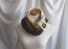 Cowl Chunky Bulky Button Crochet Neckwarmer by CrochetCluster