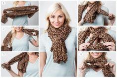 Nudo cruzado, encuentra más opciones para usar tus bufandas en esta época de frío aquí...http://www.1001consejos.com/formas-de-usar-una-bufanda/