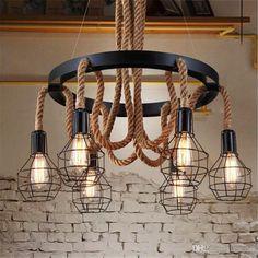 American Style Retro Industry Loft Iron Lights Creative Personality Living Room Restaurant Art Hemp Rope Chandelier Art Pendant Lamps Modern Pendant Light Fixtures Hanging Lights In Bedroom From Bingo_market, $80.4| Dhgate.Com