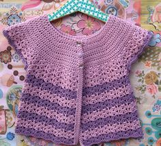 Crochet Baby Sweater - Rose Pink and Lavender Stripes Swing Cardigan With Lacy Edging - Size 9 to18 Months (SWING105) via Etsy
