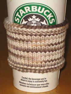 Organic Cotton Coffee Sleeve - Free knitting pattern