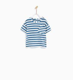 STRIPED T-SHIRT WITH DIAGONAL POCKET-Short sleeve-T-SHIRTS-BABY BOY | 3 months-4 years-KIDS | ZARA United Kingdom