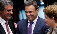 Inimigos políticos, Dilma, Aécio e Cardozo confraternizam em rodinha no Senado