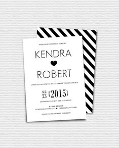 Printable Wedding Invitation - Modern Typography Wedding Invitation - Black and White Wedding Invitation - Romantic Minimalist II on Etsy, $17.00