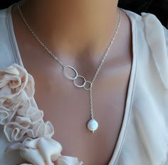 Eternity Circle Necklace - Bridesmaid Jewelry - Pearl Necklace - Lariat Necklace - Sterling Silver Necklace - Bridal Necklace on Etsy, $36.00