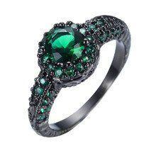 2016 New Fashion Blue Fire Opal CZ Diamond Cross Ring For Women/Men Vintage Black Gold Filled Zircon Ring Wedding Jewelry RB0850