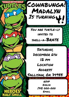 Ombre Designs Digital Invitation Retired Listing Ninja turtle