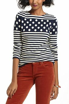 stripes and dots together - i hope they never go out of style. . .Stacked Spots Pullover #anthropologie