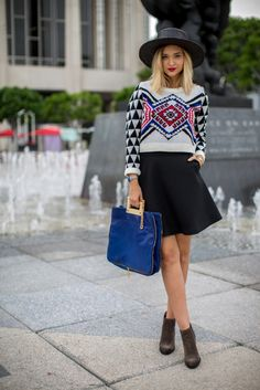 printed sweater and Sandro skirt @lateafternoonl