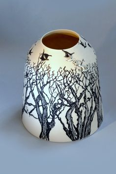 "Eunice oBtes Ceramics -  ""On top of the trees"" white porcelain with sqrafftito and sprigs"