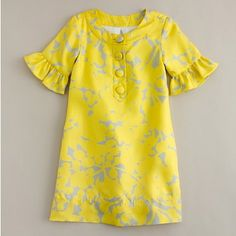 mod little party dress, J. Crew, yellow and grey, flower girl party dresses