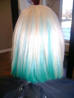 I think I would totally do this to my hair with some non permanent dye, but maybe a little more silvery blue or pastel blue