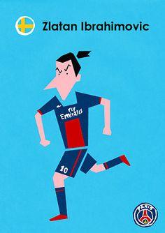 ズラタン・イブラヒモビッチ(Zlatan Ibrahimović) 残念ながらスウェーデンが負けてしまったため、2014年のワールドカップではズラタンを見ることは出来なくなってしまいました。そんな彼のイラストです。ちなみにぼくは彼をイブちゃんと呼んでいます。