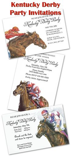 A great beginning to the best Kentucky Derby Party Yet!  Nice selection of horse racing theme invitations for your Derby Party. Personalize yourself or we will print them for you!