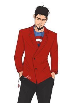 Tony :) With Steve's shield on his shirt