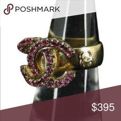 Chanel Fuchsia crystal ring Size 6.5 stunning fuchsia CC ring some wear on bottom of ring not visible when worn. 100% authentic. Stamp imprinted inside ring to assure authenticity found in pictures. No missing stones.   CHANEL Jewelry Rings
