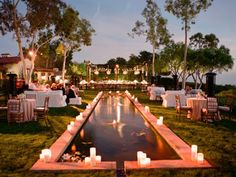 Modernize your outdoor wedding decor. Replace pillar candles with Cell Micro tabletop fireburners to line the poolside, creating a breathtaking reflection for that awe-inspiring moment. (Shown: Outdoor wedding reception adjacent to reflecting pool) Cocktail Wedding Reception, Wedding Ceremony, Wedding Receptions, Wedding Dinner, Church Wedding, Cocktail Tables, Backyard Lighting, Outdoor Lighting, Candle Lighting