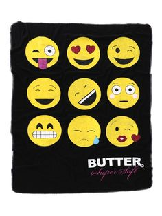 """Smiley Emoji Blanket is a super soft fleece blanket with contrast top stitch detail around the edges.  47"""" X 64"""""""