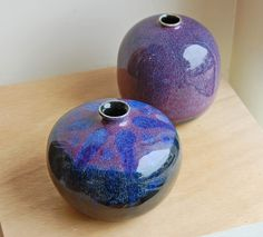 'Purple Haze' and 'Drops of Jupiter' small hand thrown vases by Steve Eddy . www.TartagliaFineArt.com