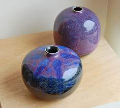 'Purple Haze' and 'Drops of Jupiter' small hand thrown vases by Steve Eddy . www.TartagliaFineArt.com