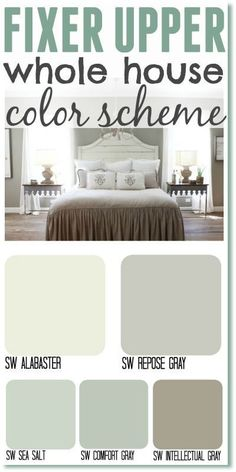 Upper whole house color scheme. Get the Fixer Upper look by using Joanna's most popular paint colors in your home.Fixer Upper whole house color scheme. Get the Fixer Upper look by using Joanna's most popular paint colors in your home. Fixer Upper Paint Colors, Matching Paint Colors, Magnolia Paint Colors, Interior Paint Colors, Paint Colors For Home, Interior Painting, House Color Schemes Interior, House Paint Interior, Kitchen Paint Colors