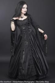 Philomena Black Velvet & Taffeta Gothic Medieval Dress Sinister