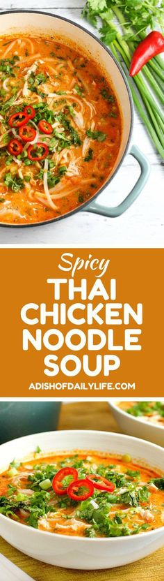 Skip the takeout! This delicious Thai Chicken Noodle Soup is easy to make at home with ingredients you can find in your local supermarket. Best of all, it takes less than 30 minutes to make! If you love Thai food, you need to try this recipe! Lemon Chicken Orzo Soup, Thai Chicken Noodles, Thai Recipes, Soup Recipes, Cooking Recipes, Cooking Ideas, Chicken Recipes, Arroz, Exotic Food