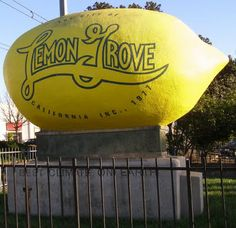 Top Ten {Tuesday} Odd Roadside Attractions I Want to See.Worlds Largest Lemon.Lemon Grove, CA Tourist Trap, Roadside Attractions, 3d Logo, California Dreamin', World's Biggest, Mellow Yellow, Rue, Along The Way, Worlds Largest
