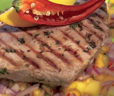 tuna steaks marinated in a mango & chilli salsa