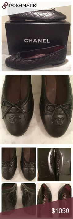 CHANEL Quilted Ballet Flats CHANEL Quilted Ballet Flats. Black Leather with Bow Detail. Authentic‼️ NWTS: Box & Dust Bags Included. Made in Italy. Size 41.5 CHANEL Shoes Flats & Loafers